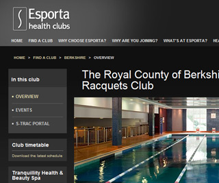 Esporta Health Clubs - Club page