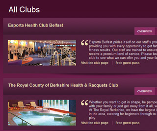 Esporta Health Clubs - Premium club page